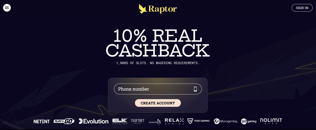 Raptor Casino lobby